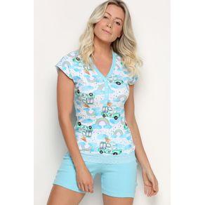 Pijama Ombro Deslocado com Galao e Short - Rainbow P