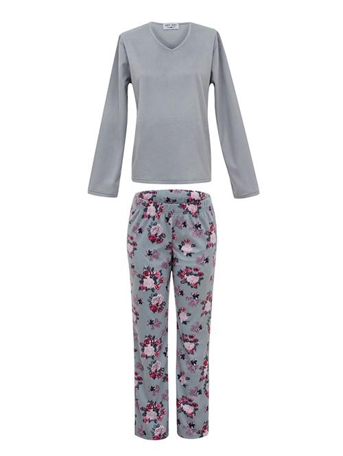 Pijama Soft Grey Flower Cinza GG