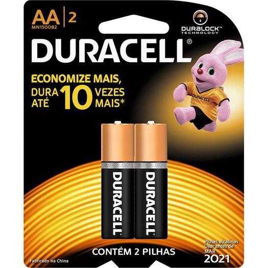 Pilha Alcalina Aa 1.5 Volts com 02 Unidades - Duracel
