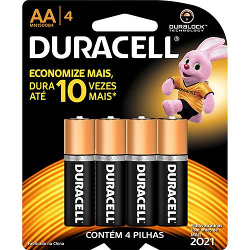 Pilha Alcalina AA C/ 4unid. - Duracell