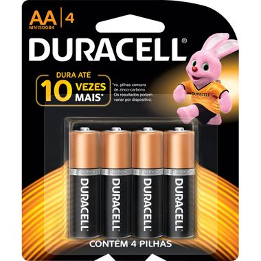 Pilha Alcalina AA Duracell 4un.