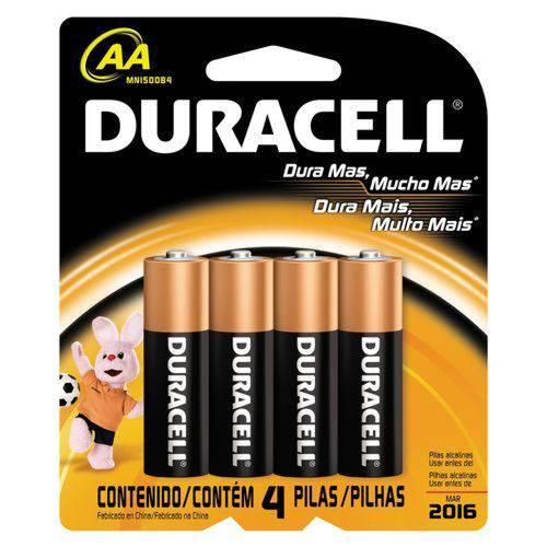 Pilha Alcalina AA Duracell - Cartela com 4 Pilhas