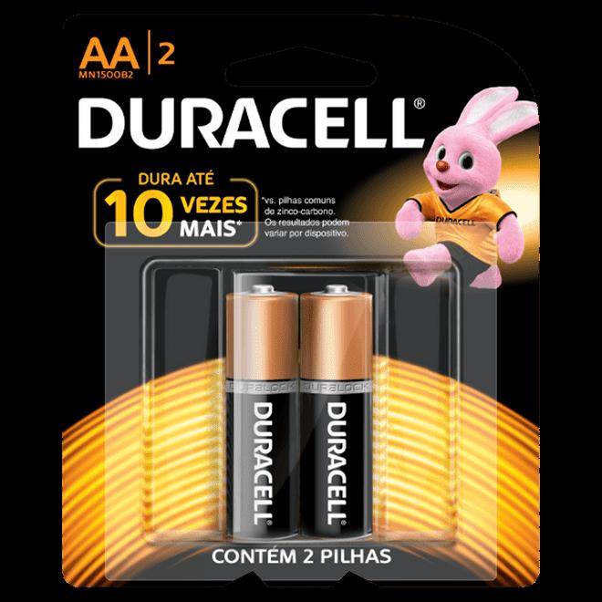 Pilha Alcalina AA Pequena com 2 Unidades - Duracell