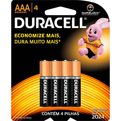 Pilha Alcalina AAA C/ 4unid. - Duracell