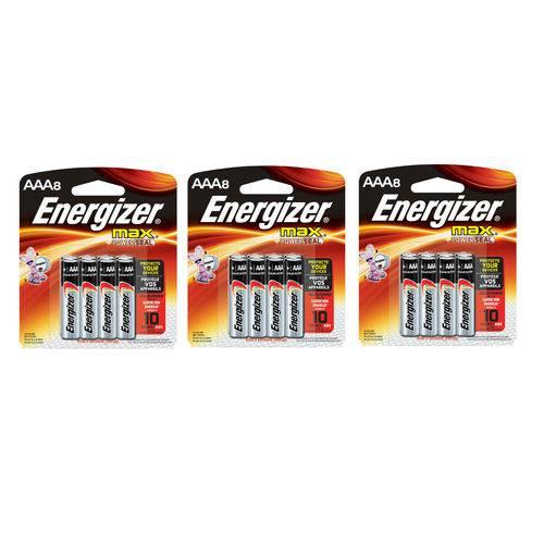 Pilha Alcalina Aaa Palito Energizer Max - 24 Pilhas - 3 Cartelas com 8 Unid