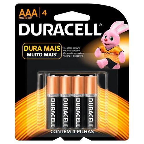 Pilha Alcalina Palito AAA com 4 Unidades - Duracell