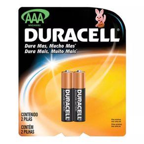 Pilha Alcalina Palito AAA Duracel com 2 Unidades