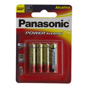 Pilha Alcalina Panasonic Power Alkaline AAA C/ 4 Unidades