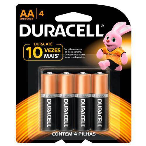Pilha Alcalina Pequena AA com 4 Unidades - Duracell