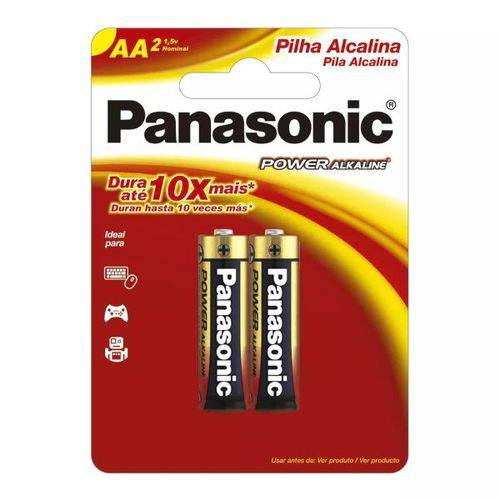 Pilha Alcalina Pequena AA Panasonic Cartela com 2 Unidades
