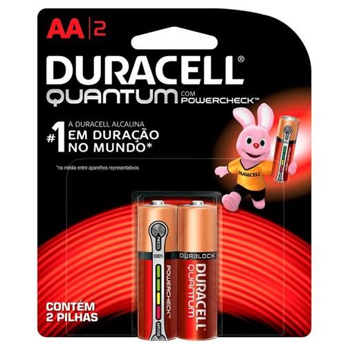 Pilha Alcalina Pequena AA Quantum com 2 Unidades - Duracell