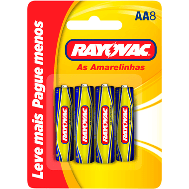 Pilha de Zinco AA Rayovac 8 Unidades