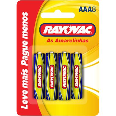 Pilha de Zinco AAA Rayovac 8 Unidades