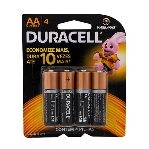 Pilha Duracell AA Alcalina 4 Unidades