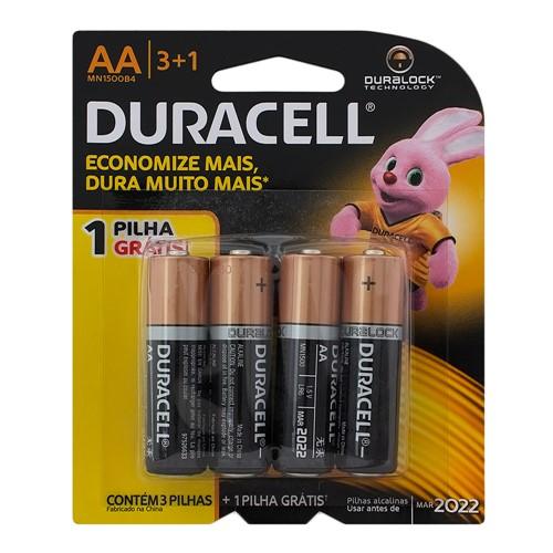 Pilha Duracell AA Alcalina 3 Unidades + 1 Unidade Grátis