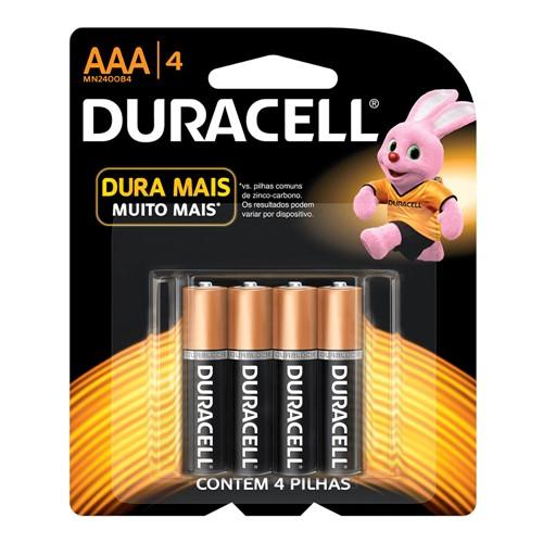 Pilha Duracell AAA Alcalina 4 Unidades