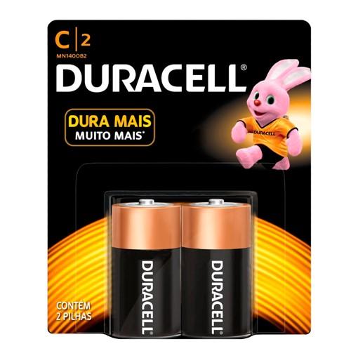 Pilha Duracell C Alcalina com 2 Unidades