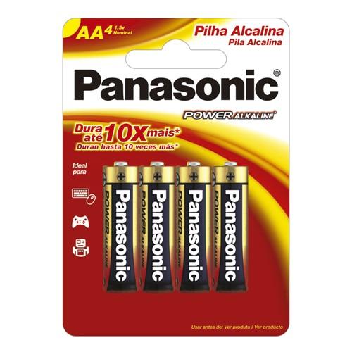 Pilha Panasonic Alcalina AA Pequena 1,5V com 4 Unidades