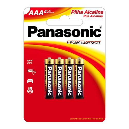 Pilha Panasonic Alcalina AAA Palito 1,5V com 4 Unidades