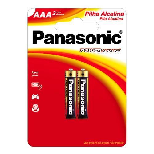 Pilha Panasonic Alcalina AAA Palito 1,5V com 2 Unidades