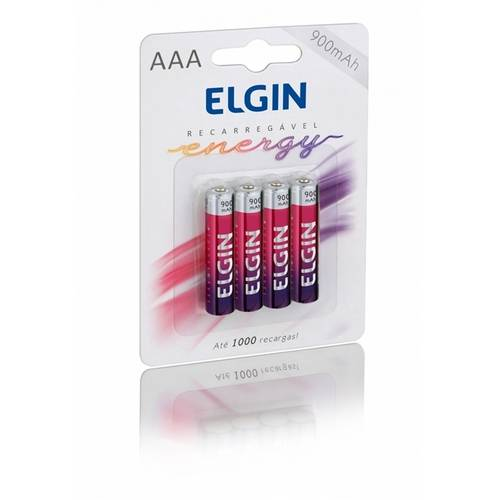 Pilha Pequena Aaa Recarregável Energy Blister C/4 900mah 1,2v - Elgin