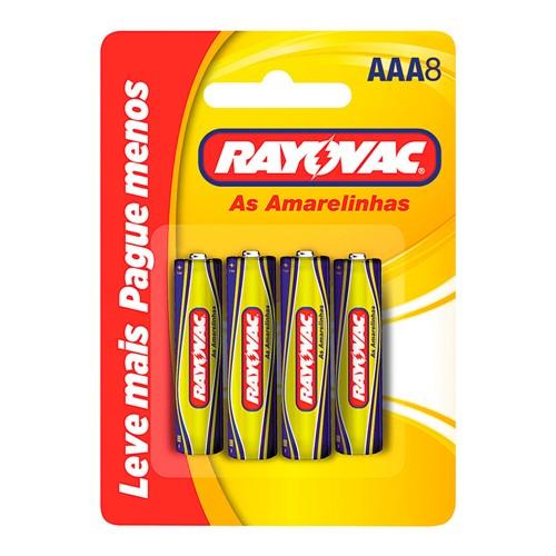 Pilha Rayovac AAA Palito as Amarelinhas 1,5V com 8 Unidades Leve Mais Pague Menos