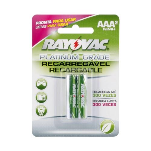 Pilha Rayovac Platinum Grade AAA Recarregável 1,2V com 2 Unidades