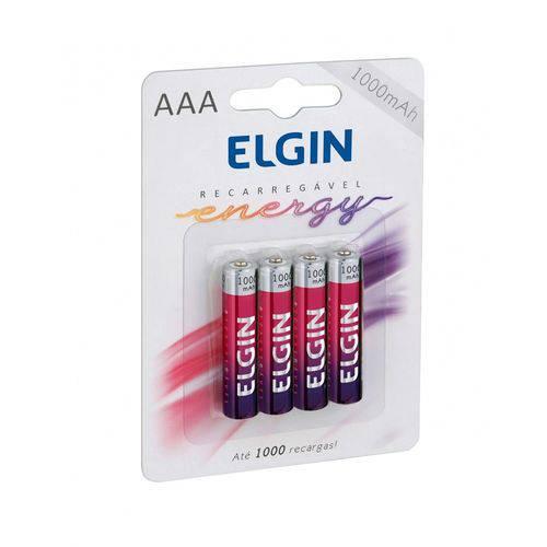 Pilha Recarregável Elgin AAA 1000mAh - Blister com 4 Unidades