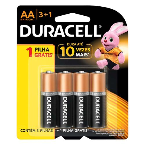 Pilhas Duracell AA 4 Unidades
