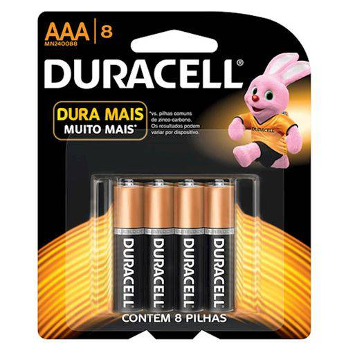 Pilhas Duracell Palito Aaa com 8 Unidades