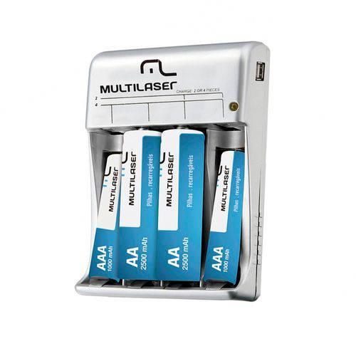 Pilhas Recarregaveis Multilaser com 2Aa+2Aaa e Carregador