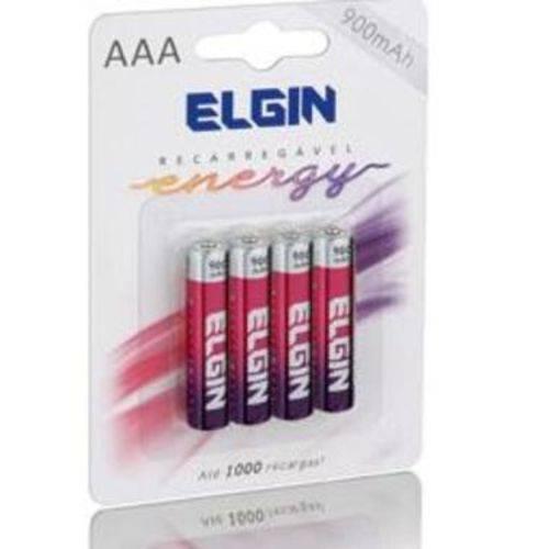 Pilhas Recarregável AAA (palito) Energy 900 Mah Elgin 4 Unid.