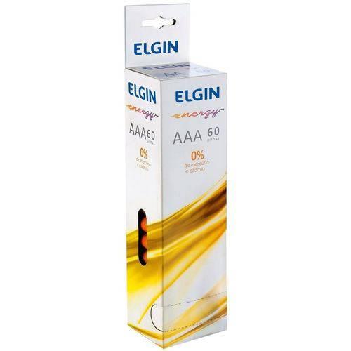 Pilhas Zinco-Carvão Elgin AAA 1,5v Shrink 60 Peças