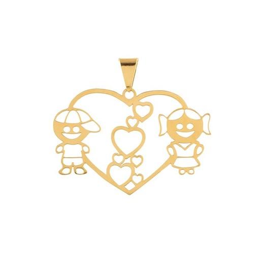 Pingente Coração Casal Ouro 18k 750