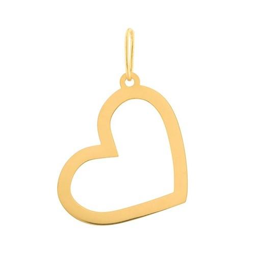 Pingente Coração Vazado Ouro 10k 416