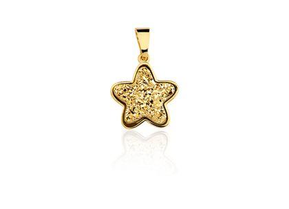 Pingente Drusa Estrela Ouro Amarelo