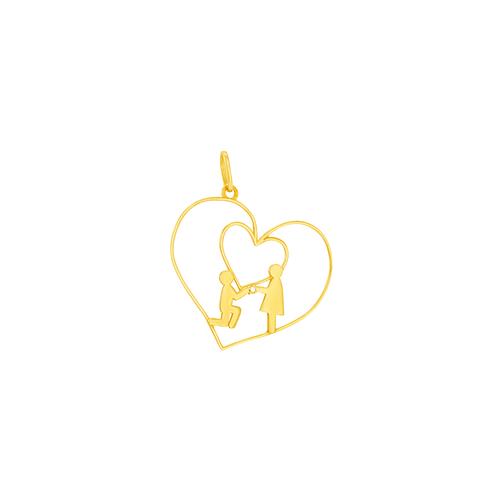Pingente em Ouro 18K Coração Casal- AU6024