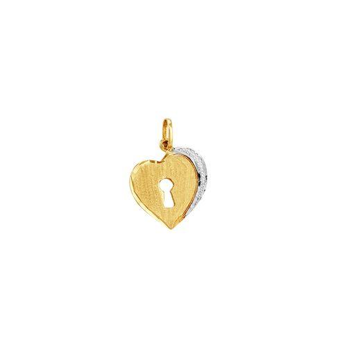 Pingente em Ouro 18K Coração com Fechadura - AU2083