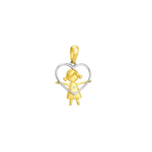 Pingente em Ouro 18K Coração com Menina - AU1787