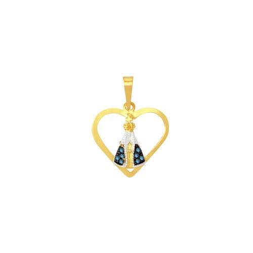 Pingente em Ouro 18K Coração com Nossa Senhora - AU5385