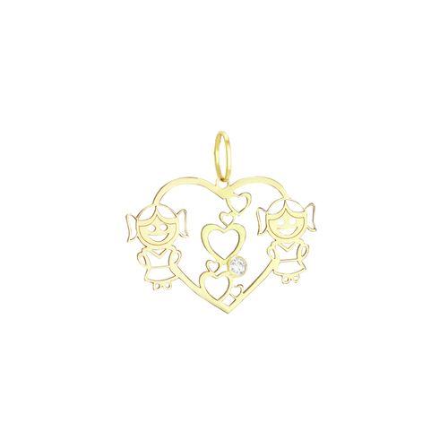 Pingente em Ouro 18K Corações e Duas Meninas - AU1693