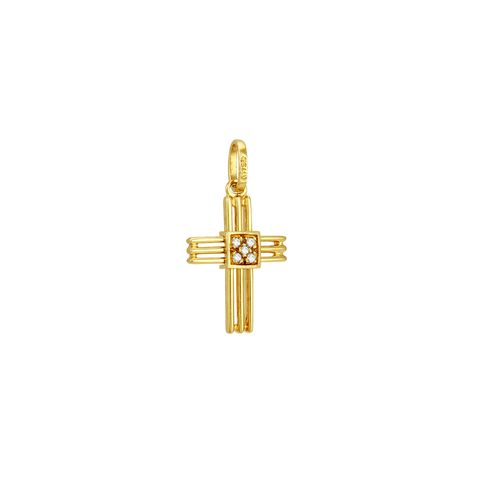 Pingente em Ouro 18K Cruz com Diamantes - AU1968 - Pingente Ouro 18K Cruz com Diamantes