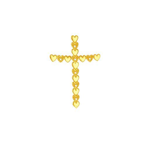 Pingente em Ouro 18K Cruz Corações e Diamantes- AU5497