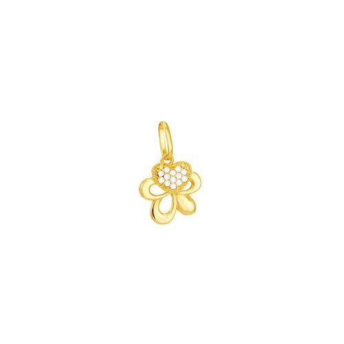 Pingente em Ouro 18K Flor e Coração com Zircônias - AU5128