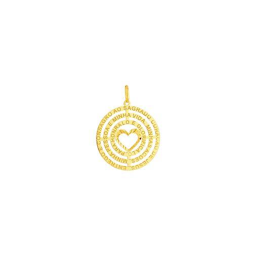 Pingente em Ouro 18K Mandala com Coração - AU5135