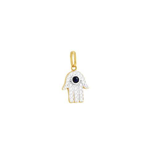 Pingente em Ouro 18k Mão de Fátima com Safira e Diamantes - AU3728