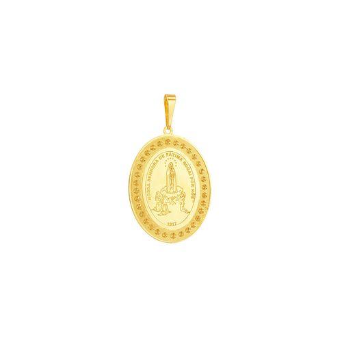 Pingente em Ouro 18K Medalha Nossa Sra de Fátima - AU5136
