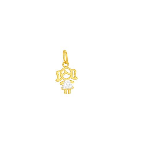 Pingente em Ouro 18K Menina com Zirconia- AU5923