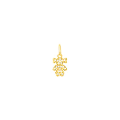 Pingente em Ouro 18K Menina com Zircônias - AU1813