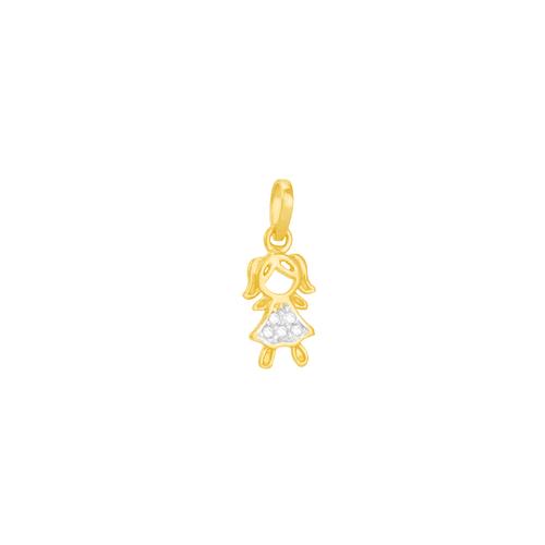 Pingente em Ouro 18K Menina com Zircônias - AU5041